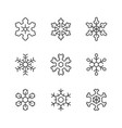 set line icons of snowflake vector image