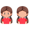 set of brunette hair girl vector image vector image