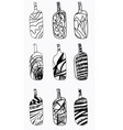 set of design bottles hand drawn elements vector image