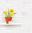 shabby chic brick wall with daffodils in pot for vector image vector image