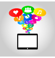 Social network icons on thought bubbles colors vector image vector image