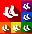 socks sign set of icons with flat shadows vector image
