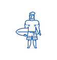 strong man with surfing board line icon concept vector image vector image