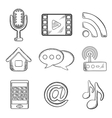 Telecommunication and multimedia sketched icons vector image vector image