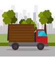 truck delivery town transport vector image