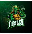 turtle sport mascot logo design vector image