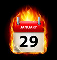 twenty-ninth january in calendar burning icon on vector image vector image