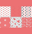 valentine heart seamless pattern collection vector image