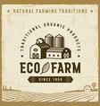 vintage eco farm label vector image vector image
