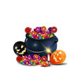 witch halloween potion pot full candy vector image