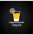 with glass of tequila for menu cover vector image vector image