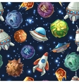 Comic space planets and spaceships vector image