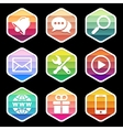 Application Icons trendy Design on black vector image vector image