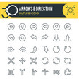 arrows and direction outline icons vector image vector image