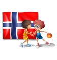 Basketball players in front of the flag of Norway vector image vector image