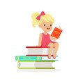 beautiful blonde girl in pink dress reading a on vector image vector image