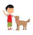 boy petting his dog pet in red collar vector image vector image