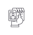 business pass in hand line icon concept business vector image