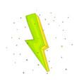cartoon green an yellow lightning icon vector image
