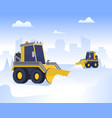 cartoon snow removal from road scene concept vector image vector image
