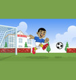 cartoon soccer player playing on school field vector image vector image
