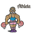 cartoon weight lifter athlete vector image