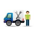 character man car repair service design vector image