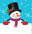 christmas cartoon of snowman vector image vector image