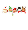 christmas friends on board - template with santa vector image vector image
