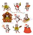 christmas wolf dog santa cartoon character vector image vector image