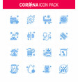 coronavirus 16 blue icon set on theme vector image vector image