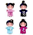 cute geisha set vector image vector image