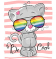 cute kitten with sun glasses vector image