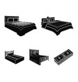 different beds black icons in set collection for vector image
