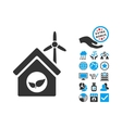 Eco House Building Flat Icon With Bonus vector image vector image