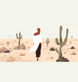 girl in desert flat single vector image vector image