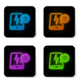 glowing neon power bank and gear icon isolated on vector image vector image