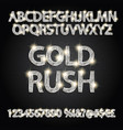 gold rush silver alphabetic fonts and numbers vector image vector image