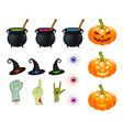 halloween cartoon set symbols collection set of vector image