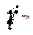 little child baby little girl blows soap bubbles vector image vector image