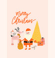 merry christmas card template with santa claus vector image vector image