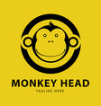 monkey head logo design template vector image