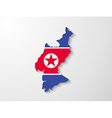 North Korea country map with shadow effect vector image vector image
