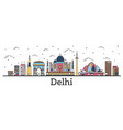 outline delhi india city skyline with color vector image vector image