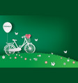 paper art of green background with bicycle in the vector image vector image