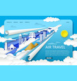 paper cut air travel landing page website vector image vector image