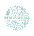pets symbols circle shape with veterinary clinic vector image