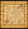 pirate treasure map skull island sketch vector image vector image
