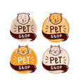 round logo set with cat and text pet shop vector image vector image