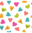 Seamless pattern with smiley hearts Cute cartoon vector image vector image